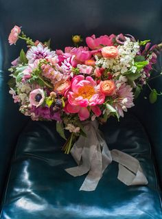 gorgeous bouquet in shades of pink by Poppies & Posies