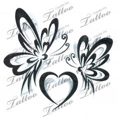 Marketplace Tattoo Butterfly Heart Tribal #15131 | CreateMyTattoo.com