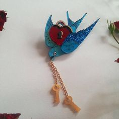 Blue of Feather and Fancy - 2018 Valentine's Day Brooch