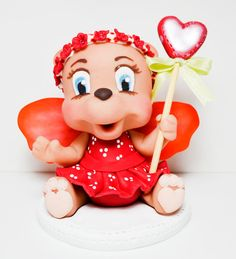 Valentine fairy teddy bear  Cake topper by HandcraftedCuties, $40.00