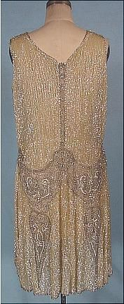 c. 1926 Deco Silver and Gold Sequin Dress Back