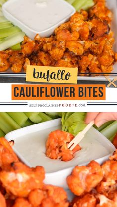 Fuel your summer day parties with Buffalo Cauliflower Bites! This recipe tastes so much like traditional chicken wings, but are a healthier low carb vegetarian version. This easy buffalo cauliflower r Tasty Vegetarian Recipes, Veggie Recipes, Healthy Dinner Recipes, Appetizer Recipes, Diet Recipes, Cooking Recipes, Paleo Food, Paleo Diet, Shrimp Recipes