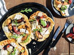 Everything—pickles, dough, everything—tastes better grilled. Even these fruity flatbreads that could work as an appetizer, light entree or dessert.