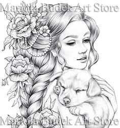 Goldi Mariola Budek Premium Coloring Page Printable Adult Coloring Pages, Coloring Pages To Print, Coloring Book Pages, Fairy Coloring, Art Drawings Sketches, Illustration, Paper Size, Digital Art, Digital Stamps