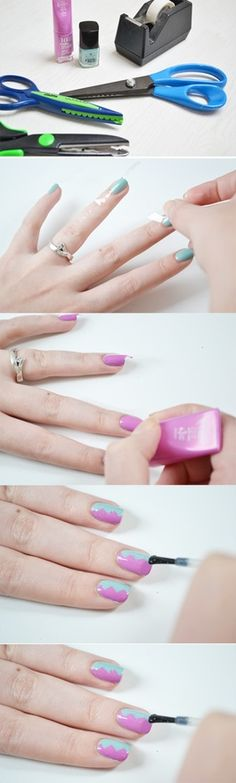 DIY nail trick : cut tape w/ patterned blade scissors.