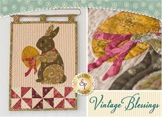 """Vintage Blessings Wall Hanging - April Pattern: Decorate your home all year long with this beautiful Vintage Blessings Wall Hanging by Jennifer Bosworth of Shabby Fabrics. This pattern is for the April design. Wallhanging measures 12"""" x 18""""."""