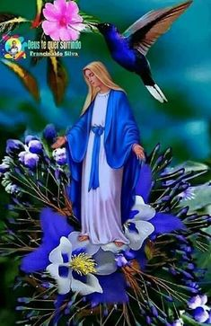 Jesus And Mary Pictures, Mother Mary Images, Pictures Of Jesus Christ, Images Of Mary, Spiritual Pictures, Religious Pictures, Blessed Mother Mary, Blessed Virgin Mary, Lotus Flower Pictures