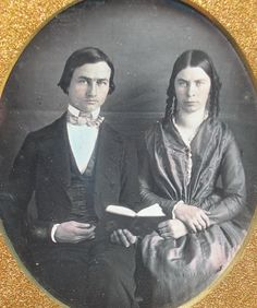 Very early sixth plate daguerreotype of a young man and woman, this image is in superb condition, the case is heavily worn and the hinge is mostly split apart but the silver plate looks better than my photos portray. | eBay!