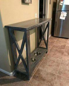 Shelf and dog food station. Genius!