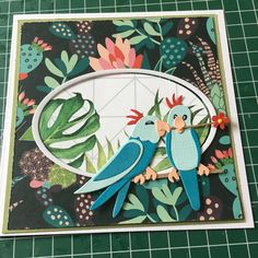 card love bird birds, Marianne design COL1465 - parakits - Card bird birds parakit parakits - MARIANNE DESIGN COLLECTABLES - ELINE'S BIRDS COL1465 - budgerigar budgie, undulat undulater papegøje papegøjer fugle fugle Marianne Design Cards, Pretty Cards, Diy Cards, Hibiscus, Parrot, Flamingo, Scrapbooking, Paper Crafts, Birds