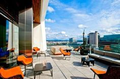 the rooftop deck at Departure Restaurant and Lounge in Portland Oregon