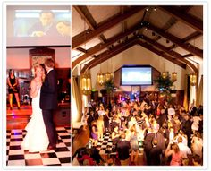 transformed the ceremony into the reception, love the black and white checkered dance floor