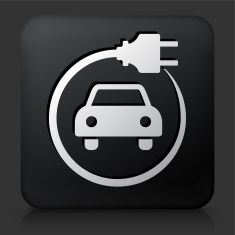 Black Square Button with Electric Car vector art illustration