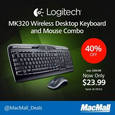 Save 40% on an #Logitech MK320 wireless desktop keyboard and mouse combo at MacMall.