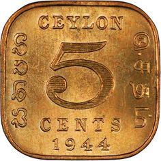 Ceylon Coins 5 Cents 1944