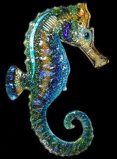 SEAHORSE Dichroic Sea Horse Fused Glass Art by TightLineGlass