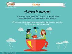 """Розширюємо свої знання англійської, вивчаючи ідіоми. Синонімом до ідіоми """"a storm in a teacup"""" в українській мові є фразеологізм - """"робити з мухи слона""""."""