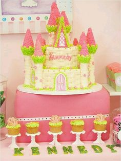 Easy castle cake for a girl. Takes some time but simple. Ice cream cones as toppers