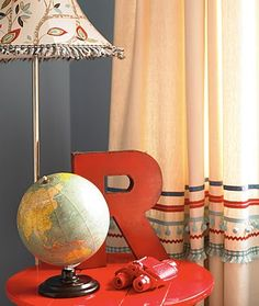Curtain trim & globe with Letter