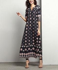 Charcoal Geometric Notch Neck Pin Tuck Maxi Dress - Plus