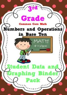 3rd Grade Common Core Math Numbers and Operations in Base Ten Student Data Tracking Binders with pre/post test graphs.