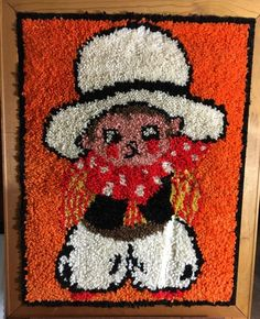 Fun Mid Century Framed Little Cowboy Latch Hooked Rug Tapestry Too Cute | eBay