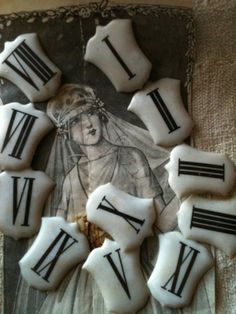 Roman Numeral Clock Pieces, Fr. brocante. <3 these old porcelain enameled pieces.