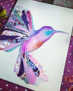 Something special cooking :) lately very pulled in by hummingbirds! #lifebook2017 #hummingbirdart #mixedmedia #willowingarts #tamfb