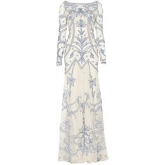 Temperley London Long Francine Tattoo Dress ($3,045) ❤ liked on Polyvore featuring dresses, gowns, long dresses, vestidos, powder mix, long evening dresses, long evening gowns, long sleeve ball gowns, sheer gown and summer dresses