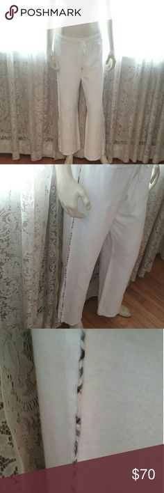 """Burberry London Terry Nova Check Lounge Pants M Burberry London Terry Nova Check Lounge Pants M..Drawstring ties at waist..Nova Check Trim Down Leg...100%Cotton ....38""""long ,31"""" inseam,16 inches Waist Across,20""""hips across, 9""""rise In Great Condition ... no holes spots or Damaged.. Come from a smoke-free home :) Very Pretty Burberry Pants Track Pants & Joggers"""