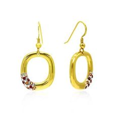 Yellow Gold Plated Earrings featuring Yellow Citrine and Red Garnet Earring