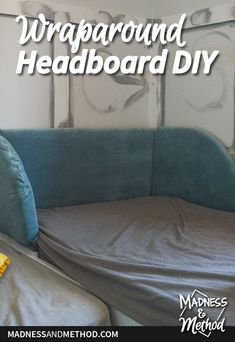 Looking to do a wraparound headboard DIY project for your bedroom? This quick tutorial is simple to follow and can be easily customized! Diy Projects For Your Bedroom, Closet Nook, Kids Bedroom, Bedroom Decor, Yellow Pillows, Diy Headboards, Back Pieces, Exposed Wood, Wainscoting