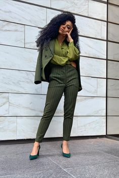 Suit for Work, White Collar Glam, NYC street style, business suit, green suit, monochromatic suit, green pumps, vince camuto heels, business formal, professional suit, pantsuit, pantsuit nation, work suits, black professionals, interview suit, mixed girl hair, natural hair, New York and Company suit, green blouse, New York street style, cute office outfit, work fashion blog, interview outfit, jewel tone outfit, patterned suit, green monochrome, green monochromatic outfit