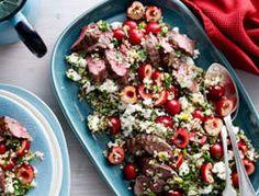 Cherry quinoa salad with lamb