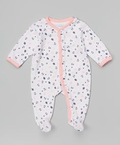 Look what I found on #zulily! White & Pink Nautical Footie - Infant by Sterling Baby #zulilyfinds