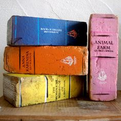 What a neat idea! Bricks painted as your favorite book. Would look lovely either in the garden or on the mantle!