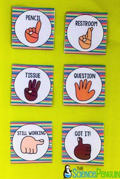 Using these hand signals in class will help the flow of class continue and not get interrupted by someone having to raise their hand and ask to go to the restroom or sharpen a pencil. My field teacher uses these and it works wonders!