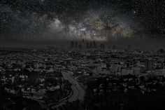 "'Darkened Cities' by Thierry Cohen: Los Angeles is darkened under a blanket of stars in this ""Darkened Cities"" photo. The starscape was captured at Joshua Tree National Park.  Credit: Thierry Cohen and Danziger Gallery"