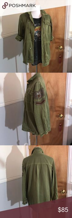 Free people embellished military jacket Military style shirt jacket. Still current FP item. Great condition Free People Jackets & Coats