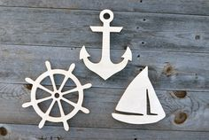 NAUTICAL Wood Cut-outs, Wood cutouts, Wood cut-outs- 3 pieces, Wooden Anchor, Wooden Ship Wheel, Wooden Sailboat set of 3 pieces by MiaPreciousMemories on Etsy https://www.etsy.com/listing/256045625/nautical-wood-cut-outs-wood-cutouts-wood