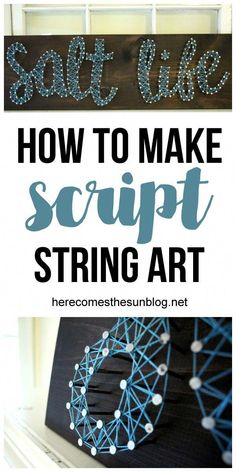 art diy Script string art is easy to create a - art String Art Diy, String Art Tutorials, String Crafts, String Art Patterns, Doily Patterns, Resin Crafts, Craft Tutorials, Dress Patterns, Cute Crafts