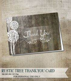 Rustic Thank You Card Digital Printable Instant Download 5x7 Rustic Wood Background with trees