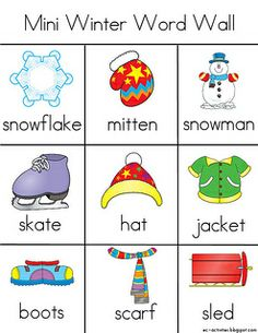 FREEBIE!! Winter themed word wall vocabulary cards ...