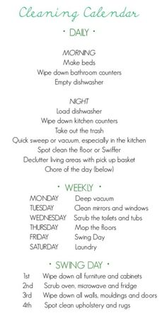 Home cleaning and maintenance calendar. Stay organized to make less work and more time for play.