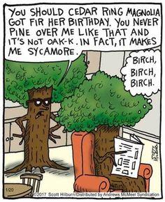 The Argyle Sweater Jan 2017 Cartoon Jokes, Funny Cartoons, Funny Jokes, Hilarious, Drunk Humor, Nurse Humor, Funny Comics, Cartoon Drawings, Tree Puns