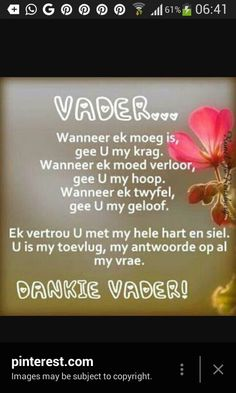 Dankie Vader, U is my toevlug. Scripture Verses, Bible Verses Quotes, Life Quotes, I Love You God, Afrikaanse Quotes, Inspirational Qoutes, Motivational, Prayer For Family, Prayer Board