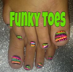 Bright Neon Abstract on Black Toe Nail Art Cute Nail Art, Gel Nail Art, Cute Nails, Pretty Nails, Pedicure Designs, Toe Nail Designs, Toe Nail Color, Nail Colors, Black Toe Nails