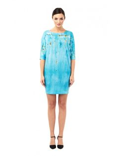 Rusted Turquoise - Printed T-shirt Dress