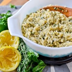 Turn a super healthy food into a delicious side dish with chicken broth, lots of herbs and lemon juice. Easy and delicious!