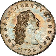 A flowing hair silver dollar, the first silver dollar struck by the United States Mint. The rare 1794 silver dollar sold for slightly more than 10 million at a New York auction, more than doubling the previous 4 million record set in 1999 Cow Girl, Cow Boys, Silver Dollar Coin, Gold And Silver Coins, Us Coins, Rare Coins, Coining, Andreas Gursky, Valuable Coins